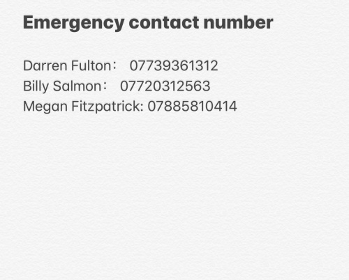 Emergency Contact Numbers: